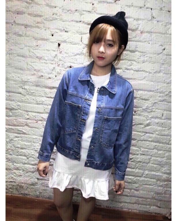 cách chọn áo khoác jean cho người thấp
