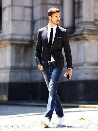 cách kết hợp áo vest và quần jean