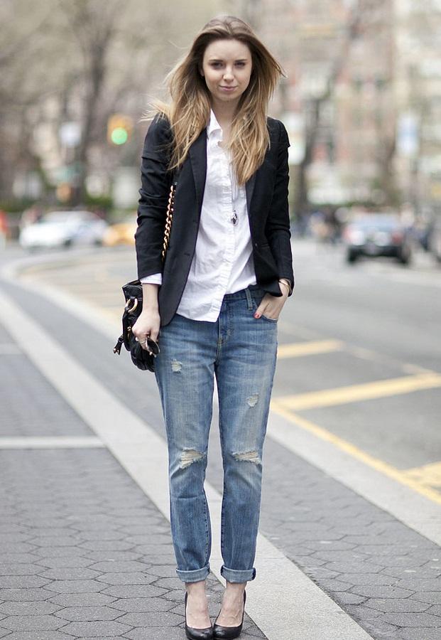 1.Quần baggy kết hợp cùng áo blazer hoặc áo vest.