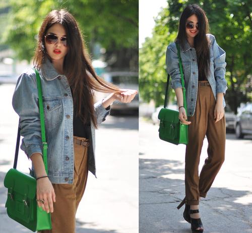 Quần baggy với áo khoác jeans