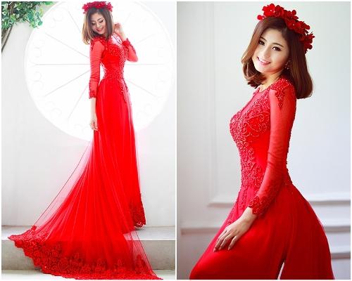 gợi ý mặc đẹp áo dài cưới cho cô dâu