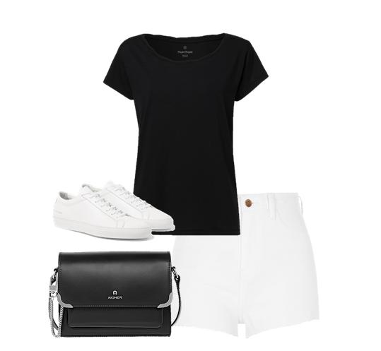 cách phối đồ với quần short trắng nữ