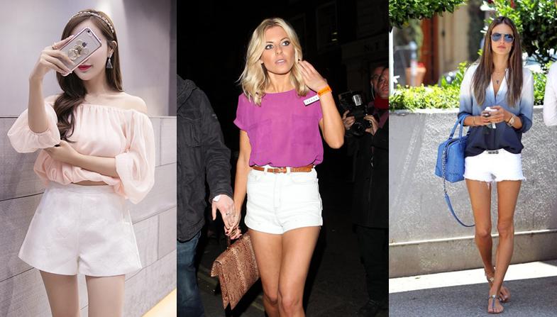 phối đồ với quần short trắng cho nữ
