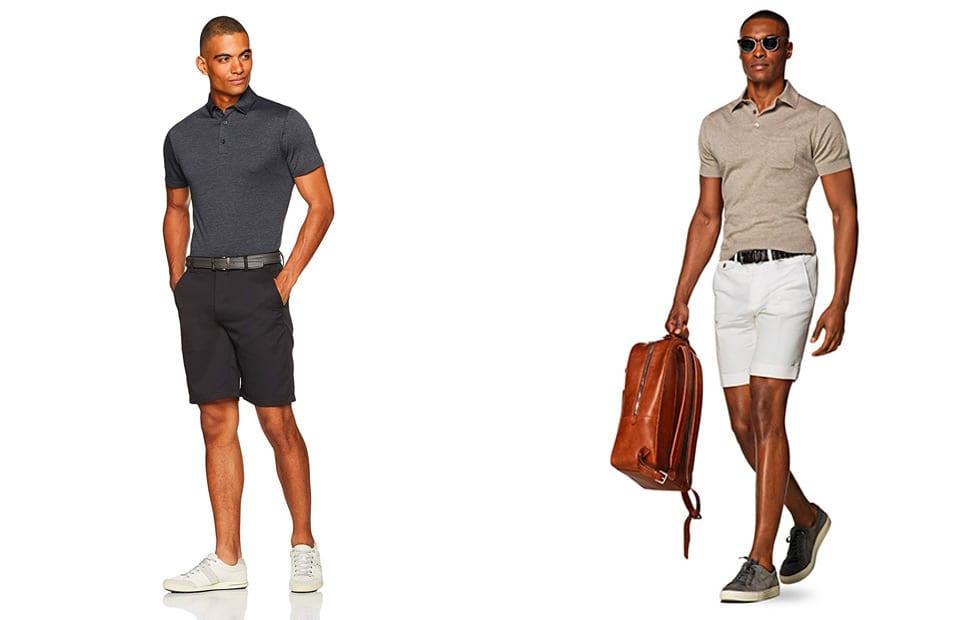 kết hợp áo thun polo nam với quần short