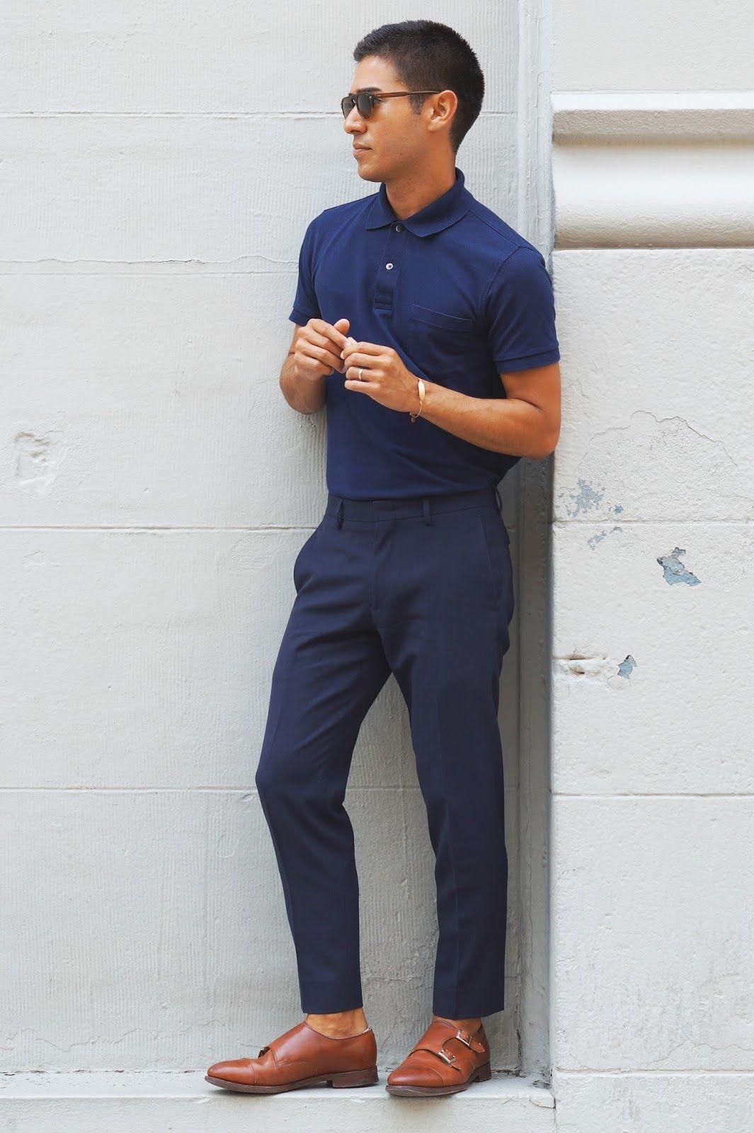 kết hợp áo polo nam với giày monk trap