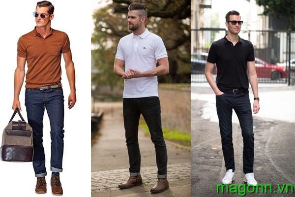 áo polo nam kết hợp với quần jean/kaki