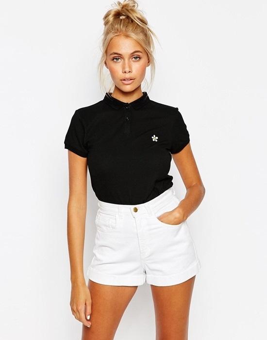 phối áo polo nữ với quần short